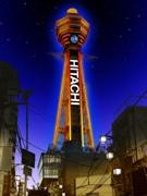 通天閣の大時計がLEDビジョンに 12色のネオン広告も