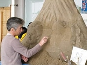 Creating Sand Sculptures at Kagoshima Airport Terminal in Conjunction with Sand & Flower Festa