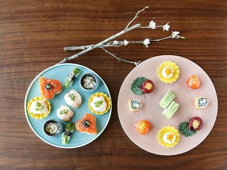 ザ・プリンスギャラリー 東京紀尾井町で寿司のアフタヌーンティー 春の花畑をイメージ