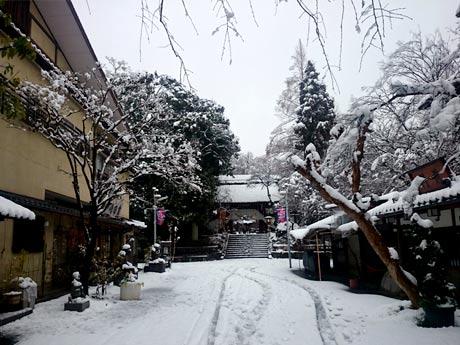 雪に覆われ、ひっそりとたたずむ深大寺山門とそば屋の街並み - 調布経済新聞
