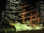 ライトアップされた帆船日本丸前でナイトライブ-苗木プレゼントも