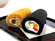 東大阪の洋菓子店「シャ・ノワール」に「恵方巻き」 竹炭入りスポンジでノリを表現