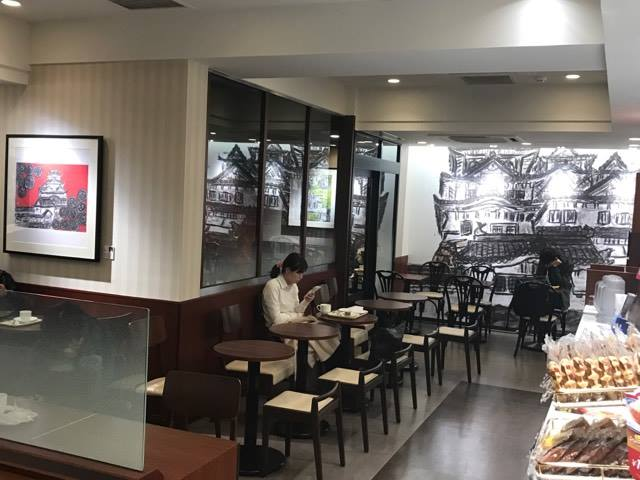 ドトールコーヒーみゆき通り呉服町店がリニューアル 姫路の絵画を壁面に
