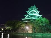 広島城をグリーンにライトアップ 緑内障の啓発活動で