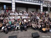小倉・紫川で復興支援イベント「大歌声喫茶」 市民200人が合唱披露