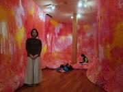 倉敷・吹上美術館で樫尾聡美さん個展 触れて鑑賞する「布の空間アート」