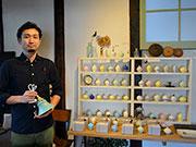 松本・中町のカフェで「ランプシェードと一輪挿し」展 阿智村の陶芸家が個展