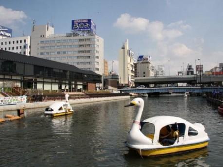 道頓堀川でスワンボート - な ...
