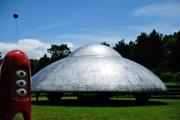大分で「アートフルロードプロジェクト」 広場に巨大UFOと宇宙人オブジェも