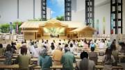 六本木ヒルズで「にっぽん文楽」屋外公演-組み立て舞台ほぼ完成