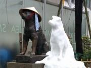 渋谷・ハチ公像横に「雪だるまハチ公」-ネットでも話題に