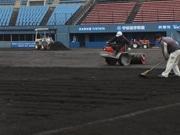 宇部市野球場が「畑」に オープン戦「ホークス対ジャイアンツ」に向け整備中