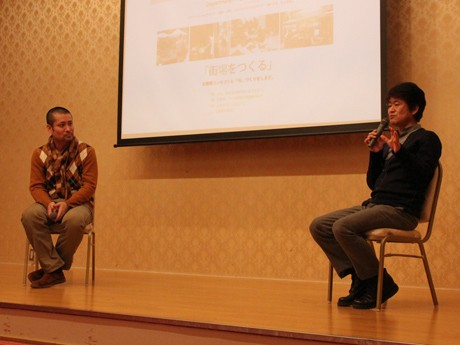 「あべのハルカス近鉄本店」ボランティア講座で山崎亮さん(写真左)と間宮吉彦さんが対談