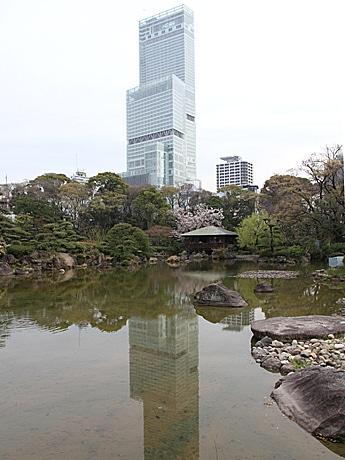 天王寺公園内の日本庭園「慶沢園」の池で「逆さハルカス」