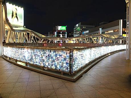 阿倍野歩道橋でイルミネーション点灯