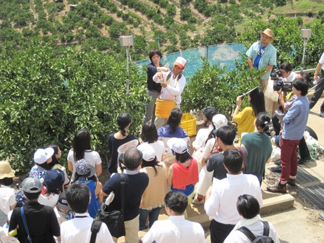 和歌山の生産者と交流する学生ら(写真=辻調グループ提供)