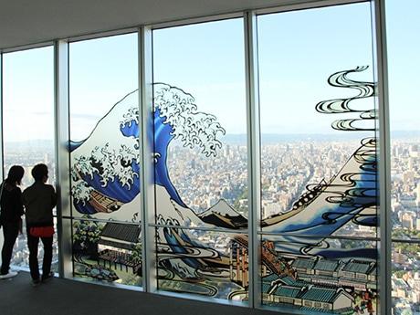「冨嶽三十六景 神奈川沖浪裏」をモチーフにした巨大影絵