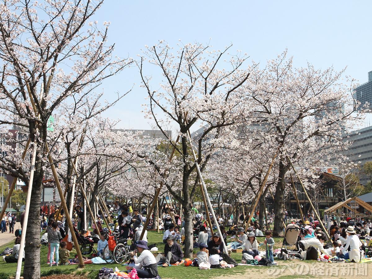 花見客でにぎわう天王寺公園「てんしば」(3月27日午後)