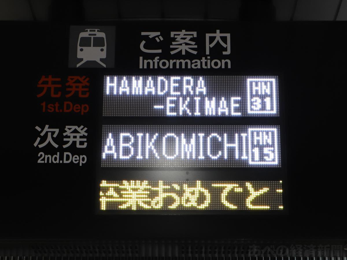 天王寺駅前駅の電光掲示板にお祝いメッセージのテロップ