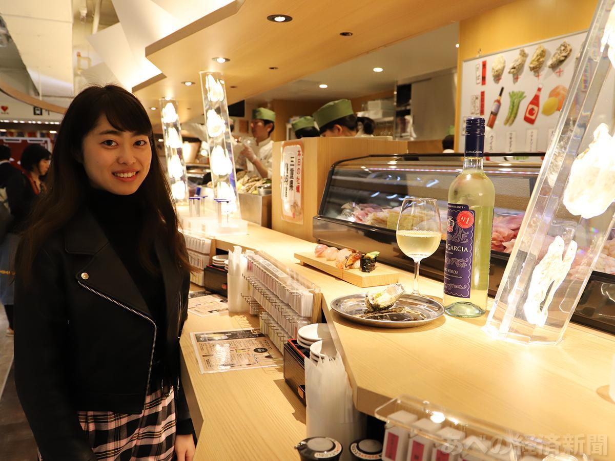 大人のちょい飲みエリア「エキうえスタンド」にオープンした「牡蠣とワイン 立喰い すしまる」