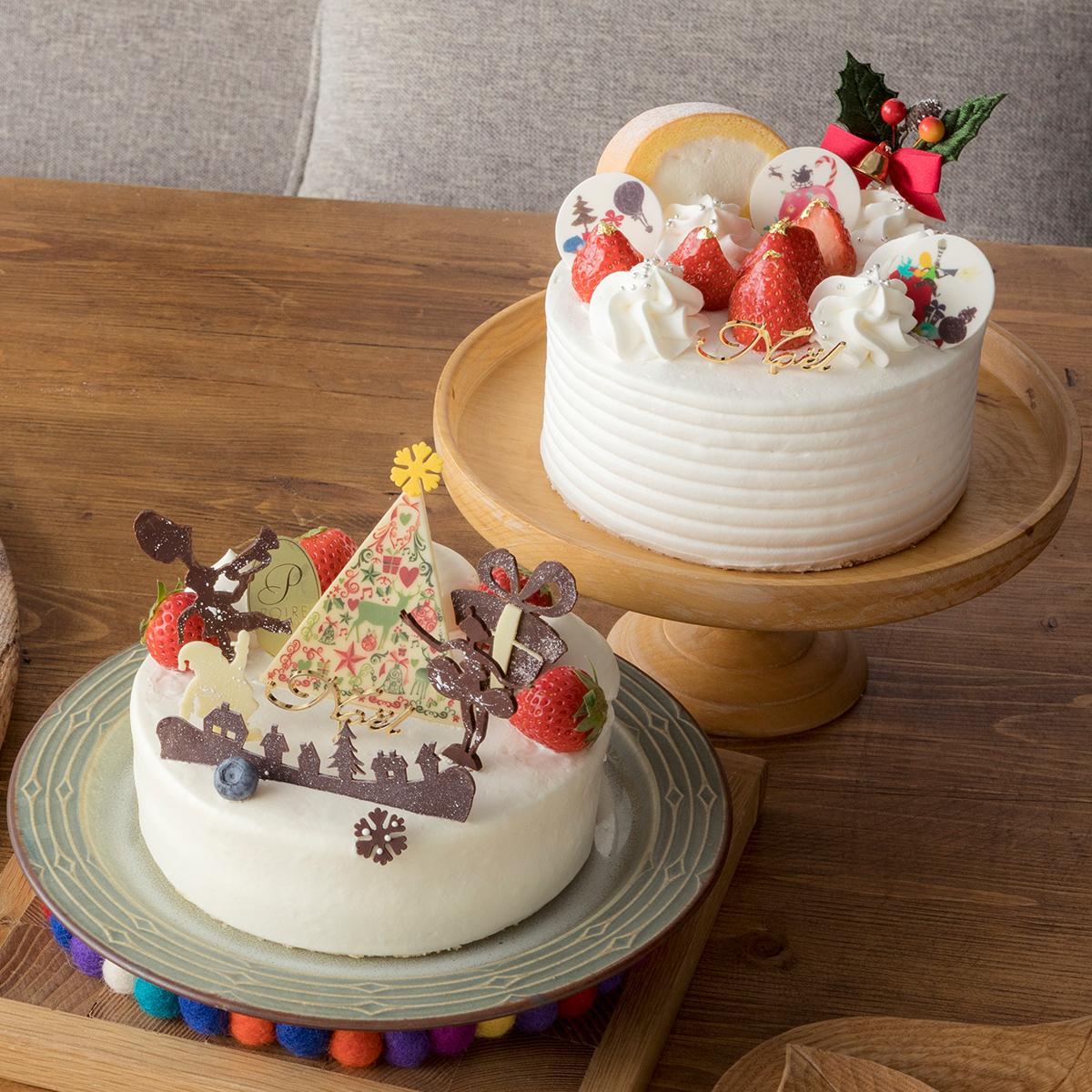 「パティスリーモンシェール」White Cream Circus(上)と「POIRE/ ポアール」Happy Circus Christmas