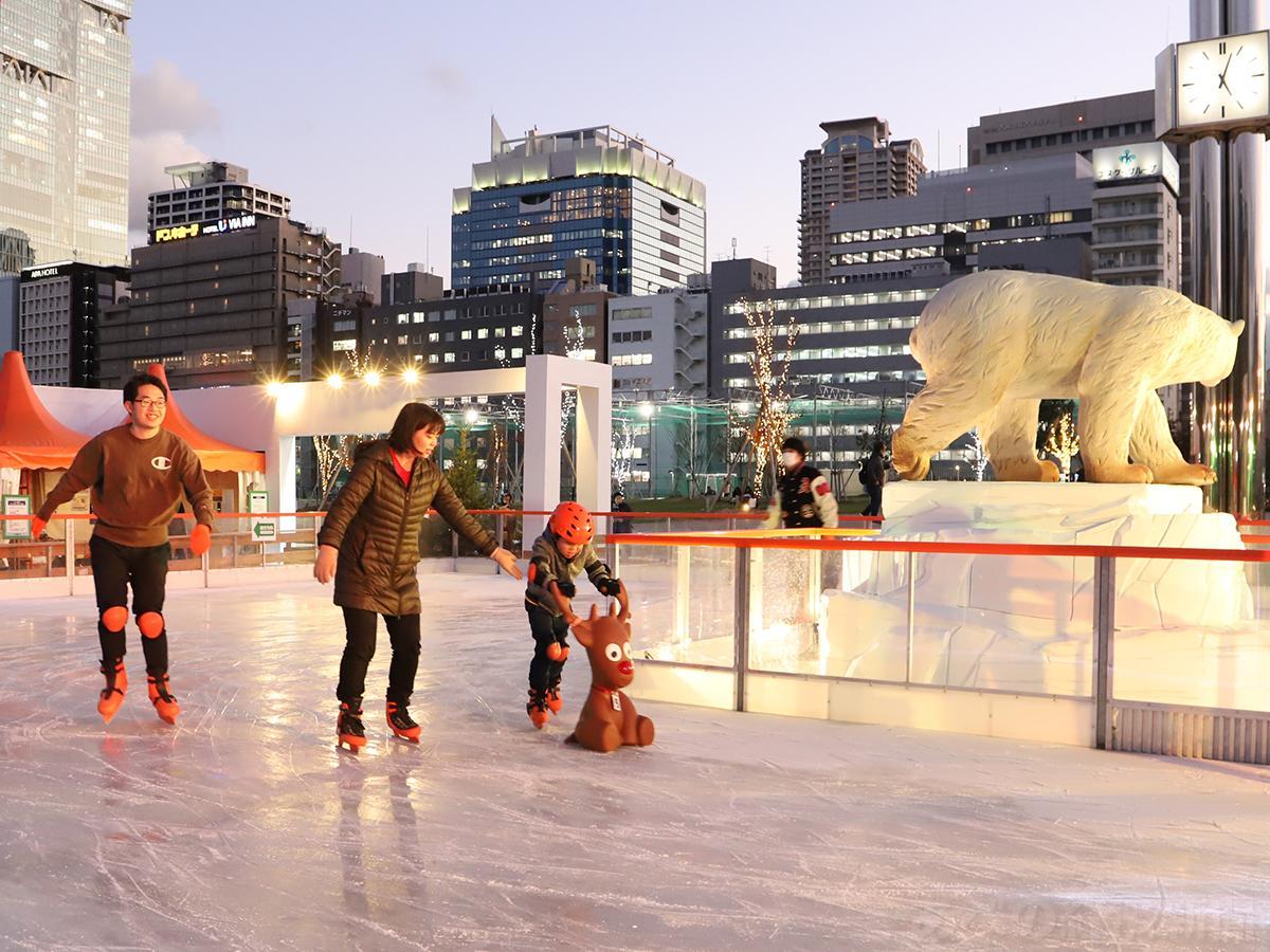 天王寺公園「てんしば」でアイススケート