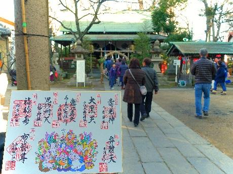 弁財天を主尊とした庚申塔がある仲町氷川神社