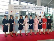 Retro Air France Flight Attendant Uniform Exhibit at Kansai Airport - 40th Anniversary of Service to Osaka