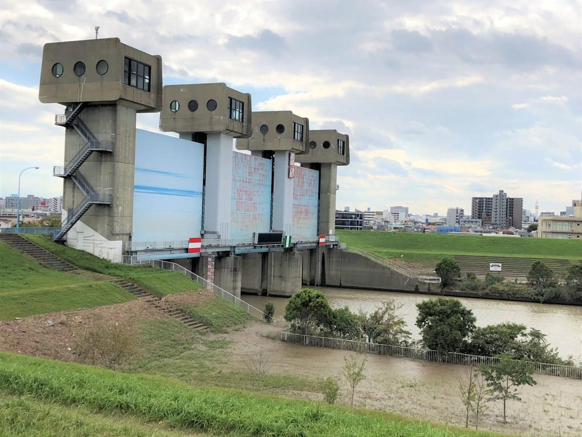 10月15日現在の岩淵水門の様子