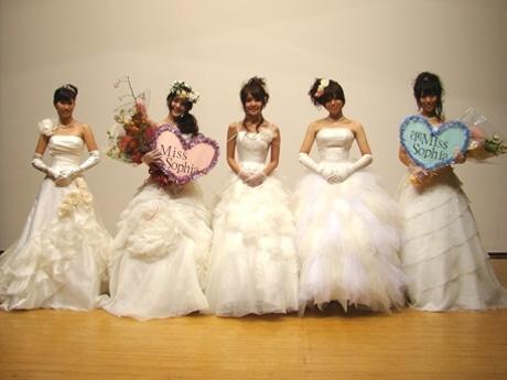 今年ミスソフィアに出場した皆さん。左から伊藤菜々さん、古谷有美さん、吉岡希織さん、石井里奈さん、西堂未紗さん。