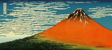 北斎の「赤富士」を新しい「顔」として披露している国立演芸場。