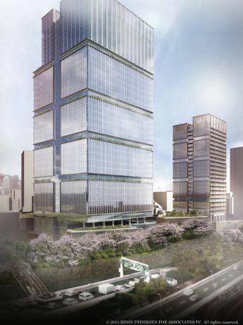 オフィス・ホテル棟の1階から4階は商業施設、5階から28階はオフィスとなる