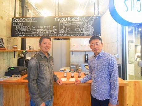 「THE SHOP BY URBANEST」店長の別枝さん(右)と「NOZY COFFEE」社長の能城さん
