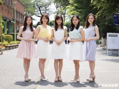 左から候補者の濵松里緒菜さん、當金ゆきのさん、川上紗希さん、内田侑希さん、千葉杏奈さん