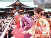 日枝神社で今年も節分祭 小池都知事や真矢ミキさん、ミス上智が豆まき