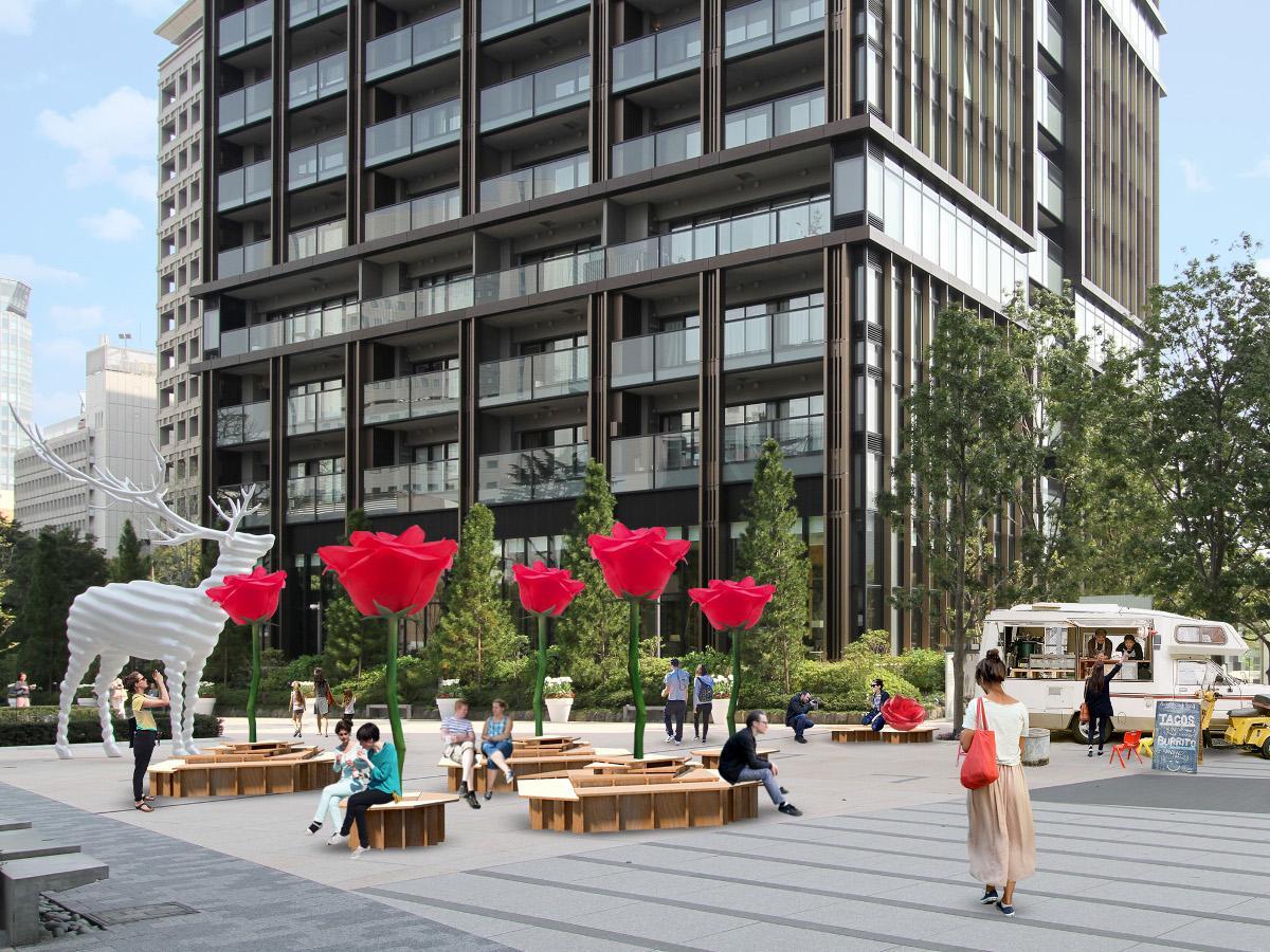 同施設の「水の広場」にはバラのモニュメントをあしらったベンチを設置する(イメージ)