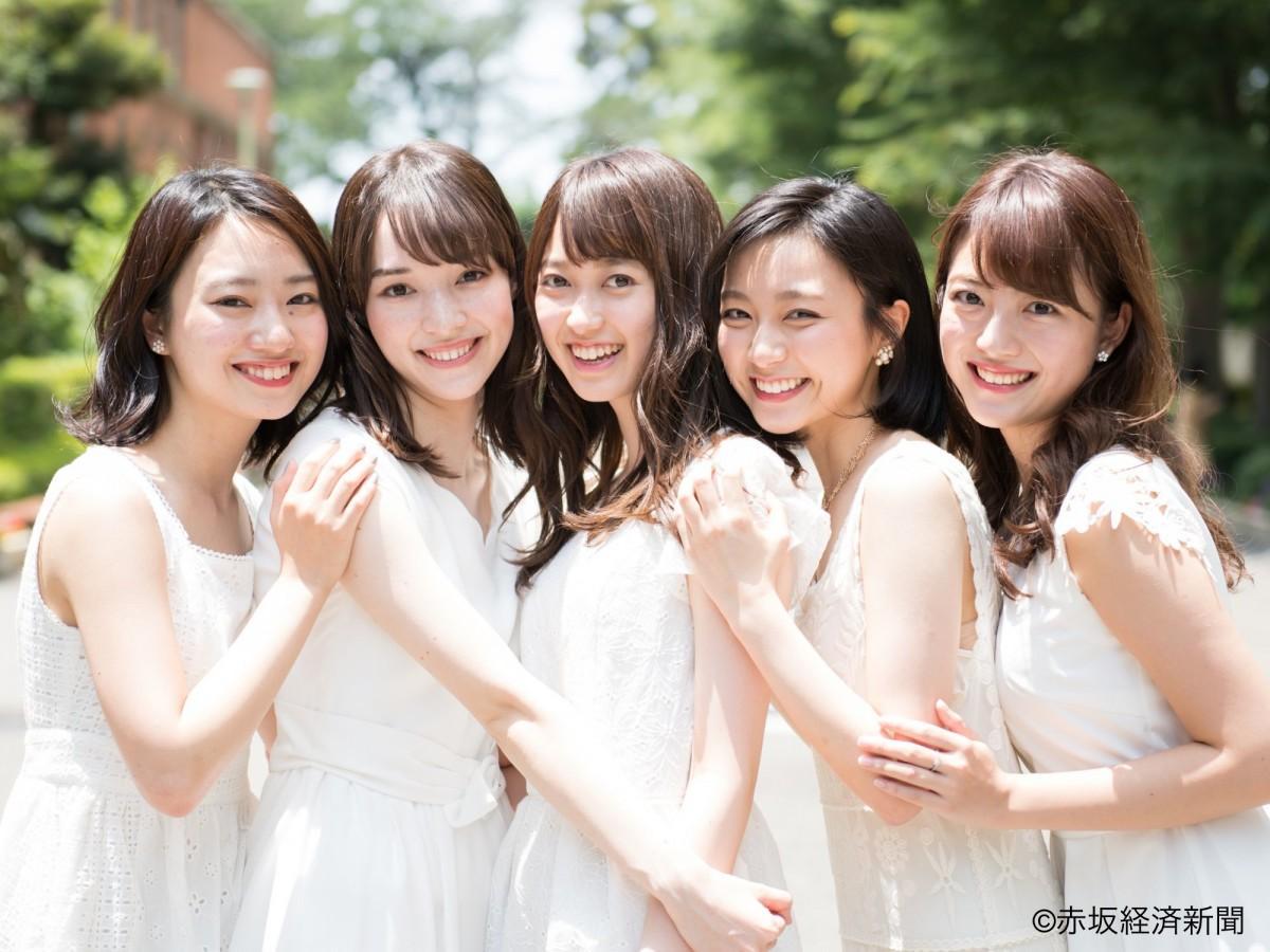 左から候補者の高森史子さん、ストーン奈緒美さん、佐々木舞音さん、佐久間みなみさん、坪内優佳さん