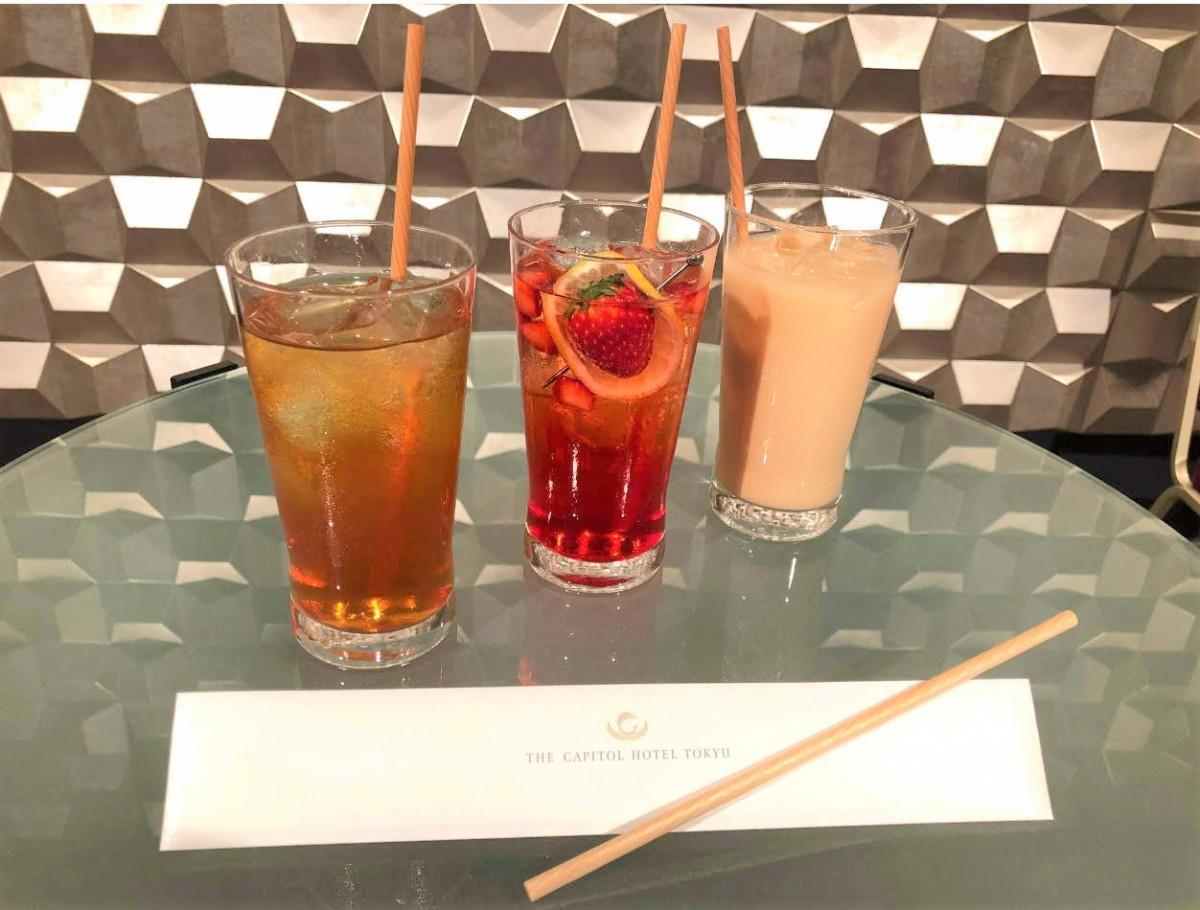 (左から)ラウンジ「ORIGAMI」とダイニングレストラン「ORIGAMI」で提供する「アイスティー」「ストロベリースカッシュ」「アイスロイヤルミルクティー」