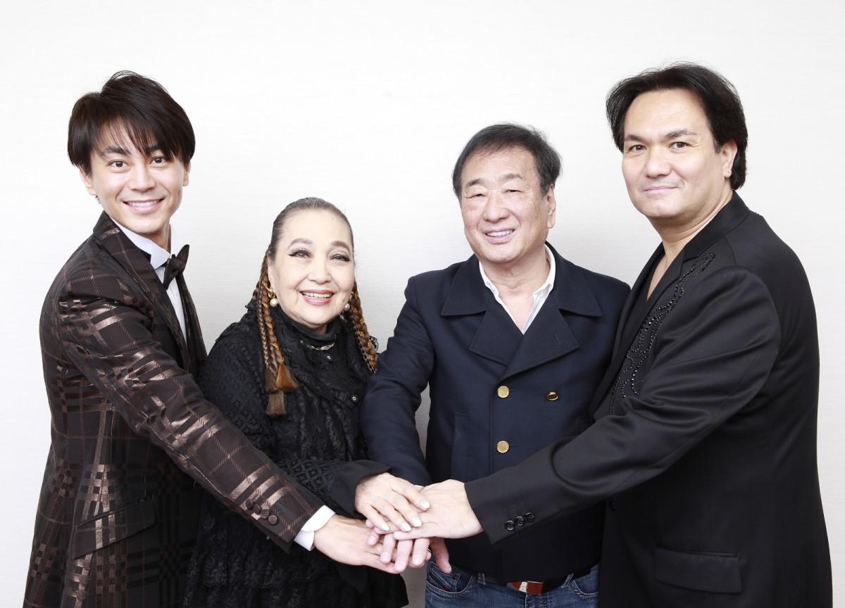 同コンサートに出演する(画像左から)氷川きよしさん、湯川れい子さん、三枝成彰さん、ジョン・健・ヌッツォさん