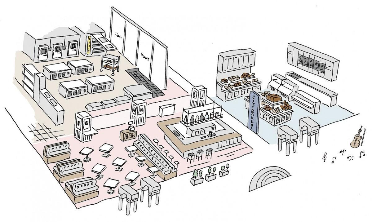 赤坂アークヒルズにオープンする「THE CITY BAKERY STUDIO TOKYO」のイラスト