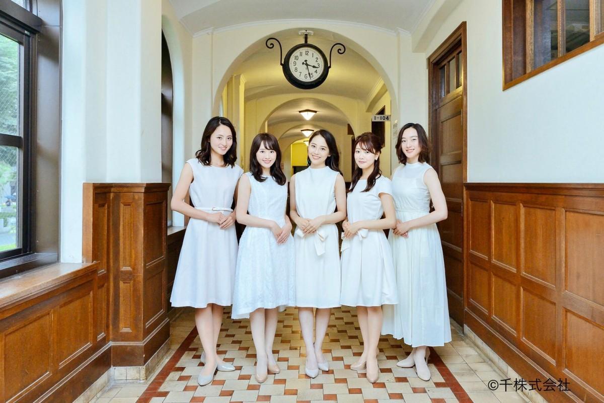 左から候補者の長谷川慧さん、奥平真衣さん、佐藤麻友さん、小滝日菜乃さん、西辻未侑さん
