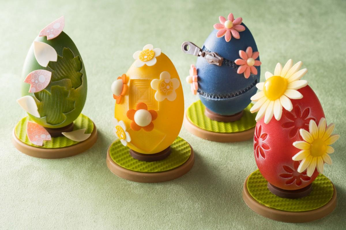 デザインごとにさまざまな花をあしらいかわいらしさを演出する「イースターエッグショコラ」