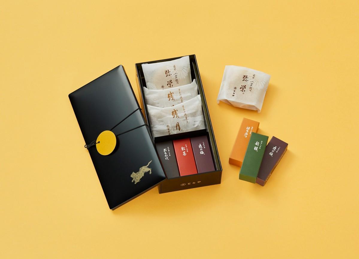 新商品の「和菓子缶 月と虎」(画像の詰め合わせ内容は9月30日まで)