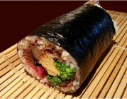 Ehomaki with black color Japanese beef are sald an