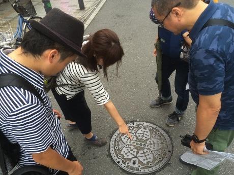 9月18日「下を向いて歩こう!マンホール街歩き」開催時の様子
