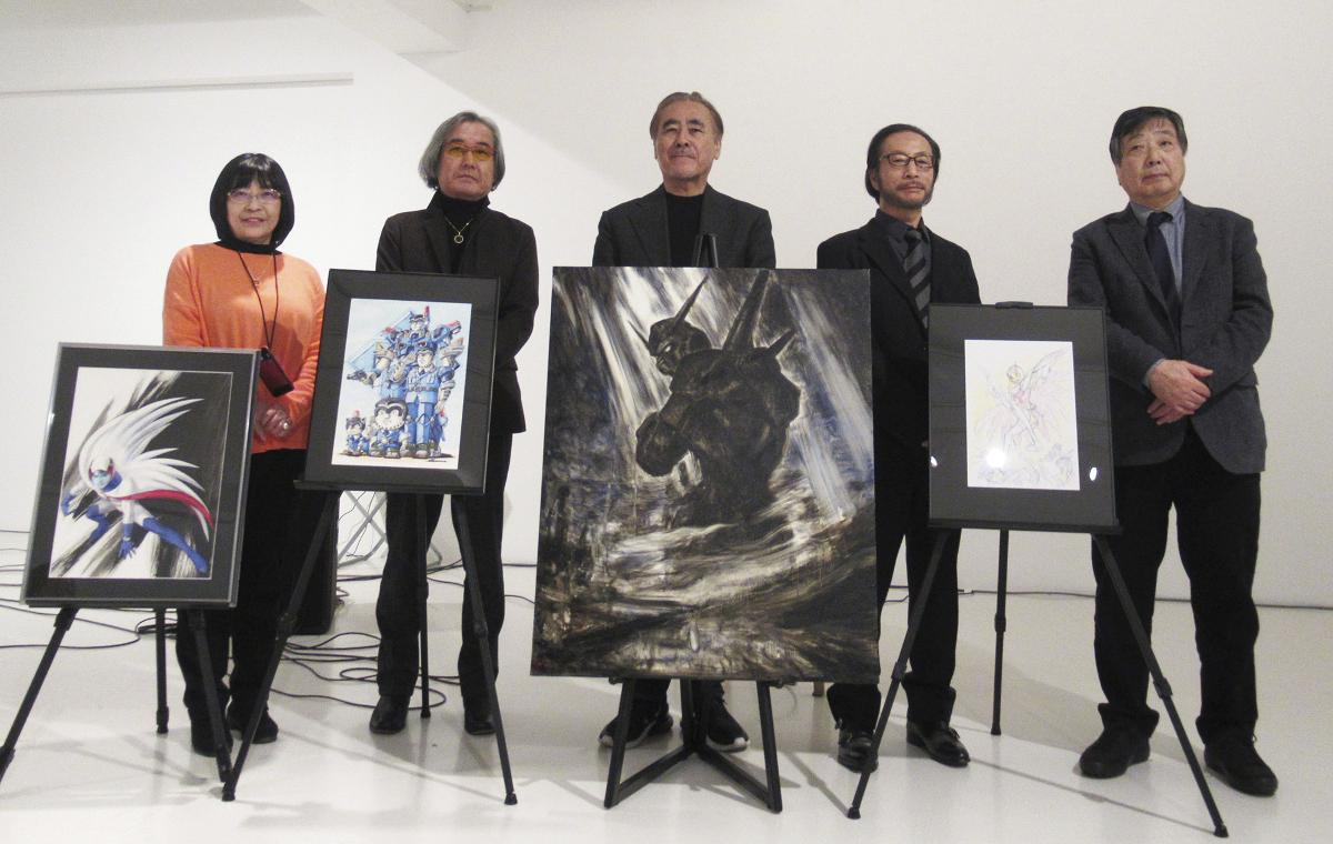 左から高田明美さん大河原邦男さん、天野喜孝さん、秋本治さん、布川ゆうじさん