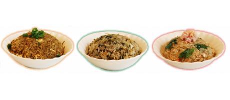 左から「チキンカレーチャーハン」「じゃこ高菜チャーハン」「カニレタスチャーハン」