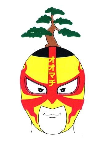 秋田市大町の活性化が使命のマスクマン「大町マン」(デザイン案)