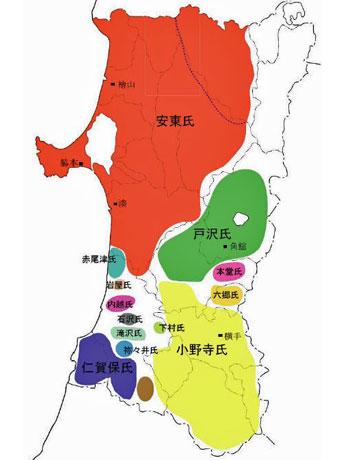 戦国時代の秋田県内の勢力図