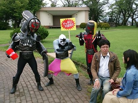 悪役が主役のコントバラエティー番組「ホジナシ the HERO」ロケの様子
